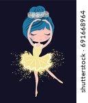 cute little ballerina dancing. | Shutterstock .eps vector #691668964