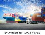 logistics import export... | Shutterstock . vector #691674781