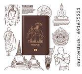 thailand travel  thailand... | Shutterstock .eps vector #691675321