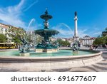 rossio square old town in baixa ... | Shutterstock . vector #691677607
