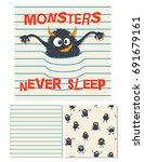monsters never sleep. surface...   Shutterstock .eps vector #691679161