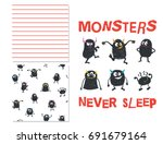 monsters never sleep. surface... | Shutterstock .eps vector #691679164