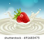 red strawberries in a splash of ... | Shutterstock .eps vector #691683475
