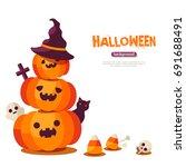 halloween pumpkins in witch hat ...   Shutterstock .eps vector #691688491
