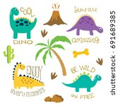 cute vector dinosaurs isolated... | Shutterstock .eps vector #691689385