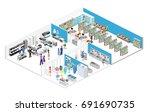 isometric interior shopping... | Shutterstock .eps vector #691690735