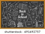 blackboard chalk doodles with... | Shutterstock .eps vector #691692757