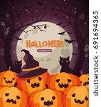 halloween pumpkins. vector... | Shutterstock .eps vector #691694365