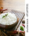 cooked white rice  thai jasmine ... | Shutterstock . vector #691695931