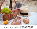 two glasses of champagne with...   Shutterstock . vector #691697131