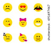flat icon emoji set of hush ... | Shutterstock .eps vector #691697467