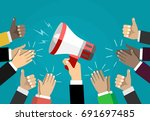 good announcement. vector... | Shutterstock .eps vector #691697485
