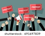 crowd of people protesters.... | Shutterstock .eps vector #691697839