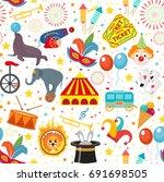 circus seamless pattern.... | Shutterstock .eps vector #691698505