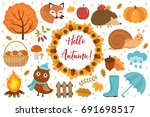 hello autumn icons set flat or... | Shutterstock .eps vector #691698517
