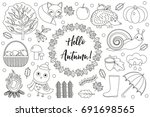hello autumn icons set sketch ... | Shutterstock .eps vector #691698565