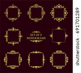 set of eight decorative vintage ... | Shutterstock . vector #691701289