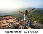 young woman with backpack...   Shutterstock . vector #69170152