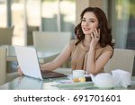 successful business woman with... | Shutterstock . vector #691701601