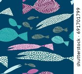 fish seamless pattern. colorful ...   Shutterstock .eps vector #691701799