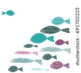 one fish swimming against many... | Shutterstock .eps vector #691702225