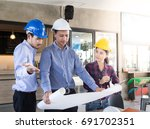 engineering team are planning... | Shutterstock . vector #691702351