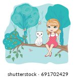 cute girl with cat.love cards... | Shutterstock .eps vector #691702429