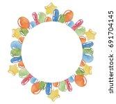 balloons watercolor frame for... | Shutterstock . vector #691704145