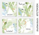 hand drawn creative invitation... | Shutterstock .eps vector #691704304