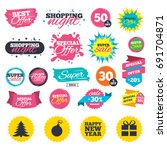sale shopping banners. happy... | Shutterstock .eps vector #691704871