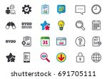 byod icons. human with notebook ... | Shutterstock .eps vector #691705111
