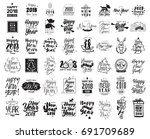 happy new year 2018 typographic ... | Shutterstock .eps vector #691709689