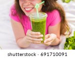 healthy food  summer and people ... | Shutterstock . vector #691710091