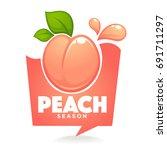 sweet peach season. vector... | Shutterstock .eps vector #691711297