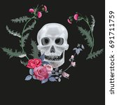 monochrome gray skull  thistle  ... | Shutterstock .eps vector #691711759