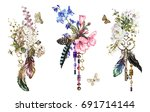 set watercolor illustration... | Shutterstock . vector #691714144