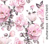 seamless pattern with pink... | Shutterstock . vector #691714645