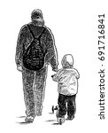 a parent walks with his kid | Shutterstock . vector #691716841