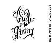 bride and groom black and white ... | Shutterstock .eps vector #691718281