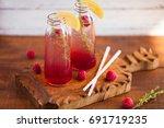 summer refreshing non alcoholic ... | Shutterstock . vector #691719235