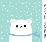 polar white little small bear... | Shutterstock .eps vector #691727275