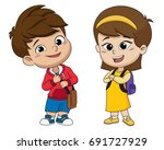 back to school. cute kids... | Shutterstock .eps vector #691727929