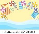 beach  seashore with waves....   Shutterstock .eps vector #691733821