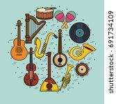 musical instruments design | Shutterstock .eps vector #691734109