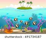 undersea with island. vector... | Shutterstock .eps vector #691734187