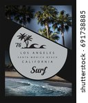 photo print california surf...   Shutterstock . vector #691738885
