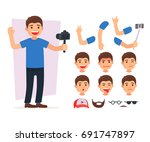 set cute blogger team. vector... | Shutterstock .eps vector #691747897