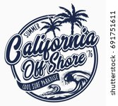 california surf typography  tee ... | Shutterstock .eps vector #691751611