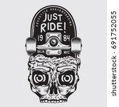 skate board sport skull... | Shutterstock .eps vector #691752055