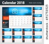 calendar planner for 2018 year. ... | Shutterstock .eps vector #691753525
